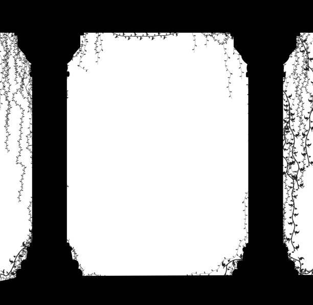 ilustrações de stock, clip art, desenhos animados e ícones de two marble columns with curling plants, romentic place in the antique garden,theater decoration, - ivy building