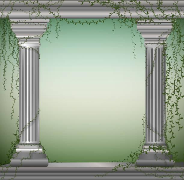 ilustrações de stock, clip art, desenhos animados e ícones de two marble columns with liana, romantic place in the antique garden,theater decoration, - ivy building