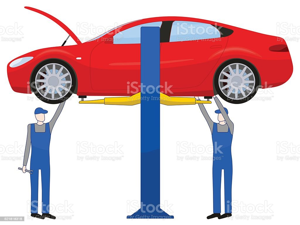 Two mechanic standing under underbody and repairing a car lifted vector art illustration
