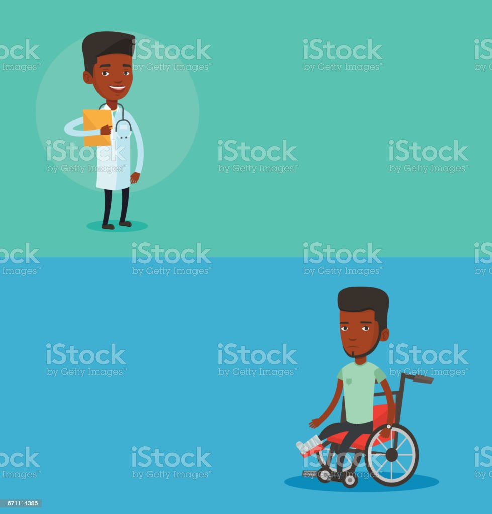 Two medical banners with space for text vector art illustration