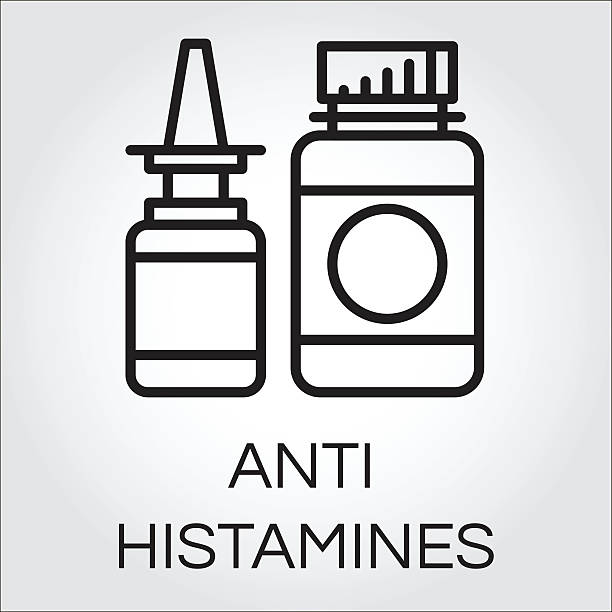 Two medical bottles antihistamines. Black icon in outline style Two medical bottles antihistamines. Icon in outline style. Label of medicine. Simple line logo for button desing, websites or mobile apps. Vector contour graphics antihistamine stock illustrations