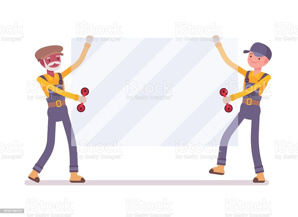 Two Men Are Carrying A Sheet Of Glass Stock Illustration