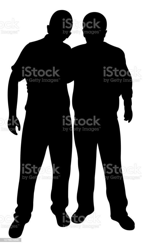 two men bodies silhouette vector vector art illustration