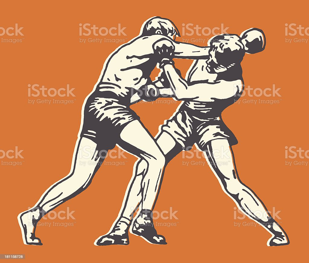 Two Men Boxing vector art illustration