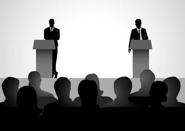Two men figure debating on podium Silhouette illustration of two men figure debating on podium debate stock illustrations