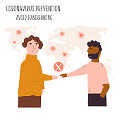 Two men going to shake the hands. Recommendation for preventing spreading corona-virus