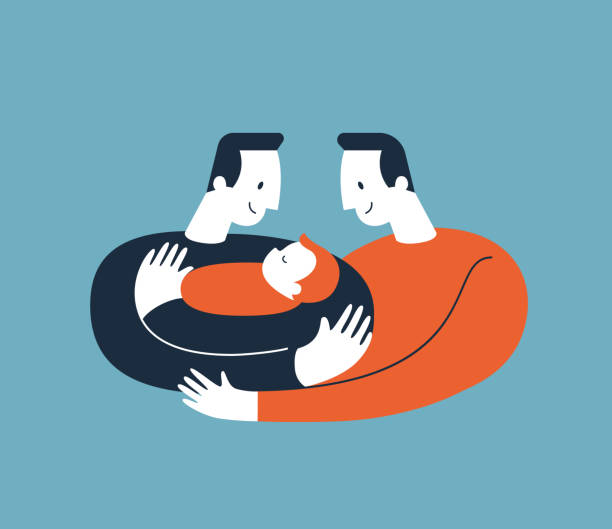 two men hugging and cuddling baby boy or girl and nursing him. gay parents embracing newborn adopted baby and expressing love and care. lesbian and gay parents concept. modern illustration. vector. - father stock illustrations, clip art, cartoons, & icons