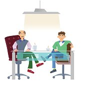Two men in casual clothes sitting at office desk with a cup of coffee. Job interview or business meetings. Vector illustration, isolated on white background.