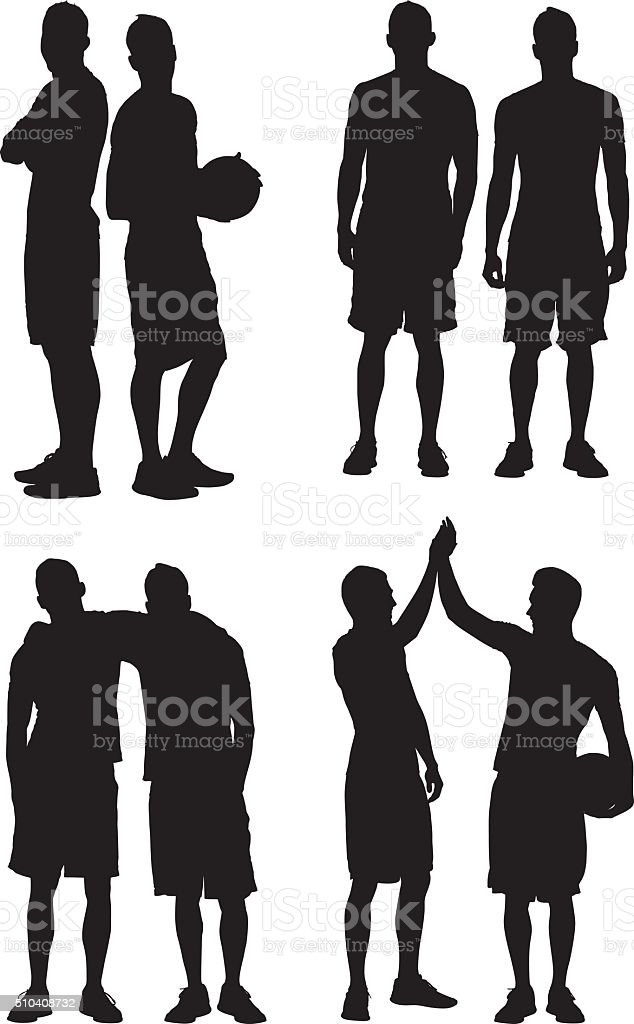 Two men in various actions vector art illustration