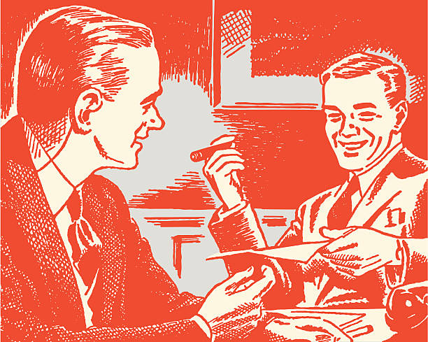 stockillustraties, clipart, cartoons en iconen met two men laughing - guy with cigar