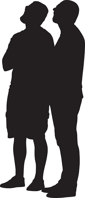 Two Men Looking Up Silhouette