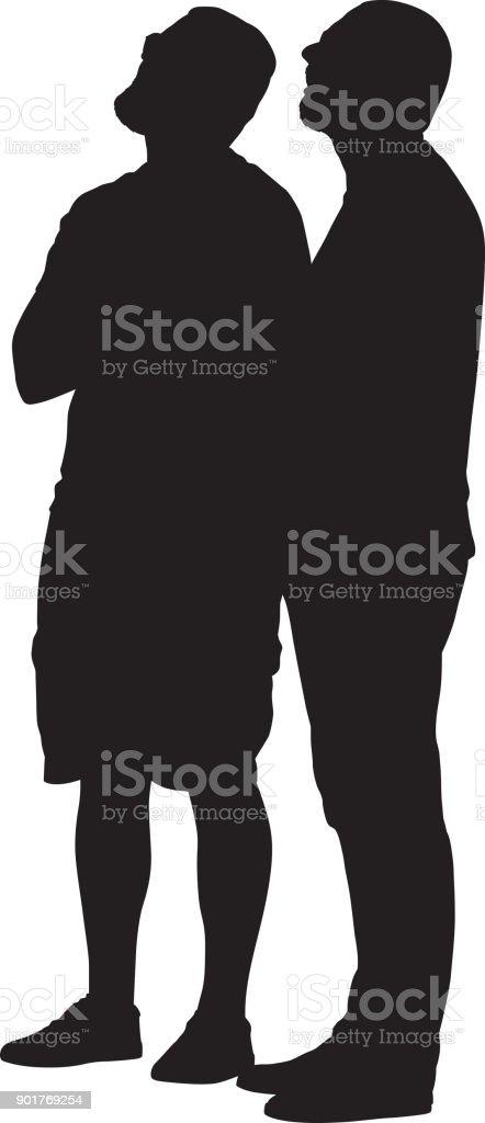 Zwei Männer auf der Suche, Silhouette – Vektorgrafik