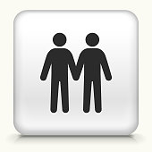Two Men Love Each Other.The icon is black and is placed on a square vector button with rounded corners. The button is light in color and the background is light as well. The composition is simple and elegant. There is a small shadow under the button. The vector icon is the most prominent part if this illustration.