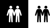 Two Men Love Each Other.This royalty free vector illustration features the main icon on both white and black backgrounds. The image is black and white and had the background rendered with the main icon. The illustration is simple yet very conceptual.