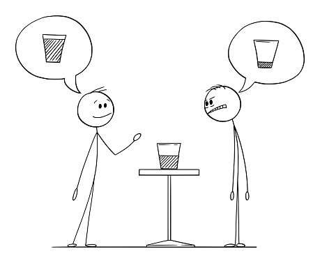Two Men Meaning if Glass Is Half Empty or Half Full, Vector Cartoon Stick Figure Illustration