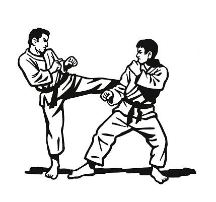Two Men Practicing Karate