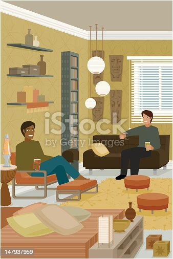 istock Two Men Sitting on Couches in Interior Decorated House 147937959