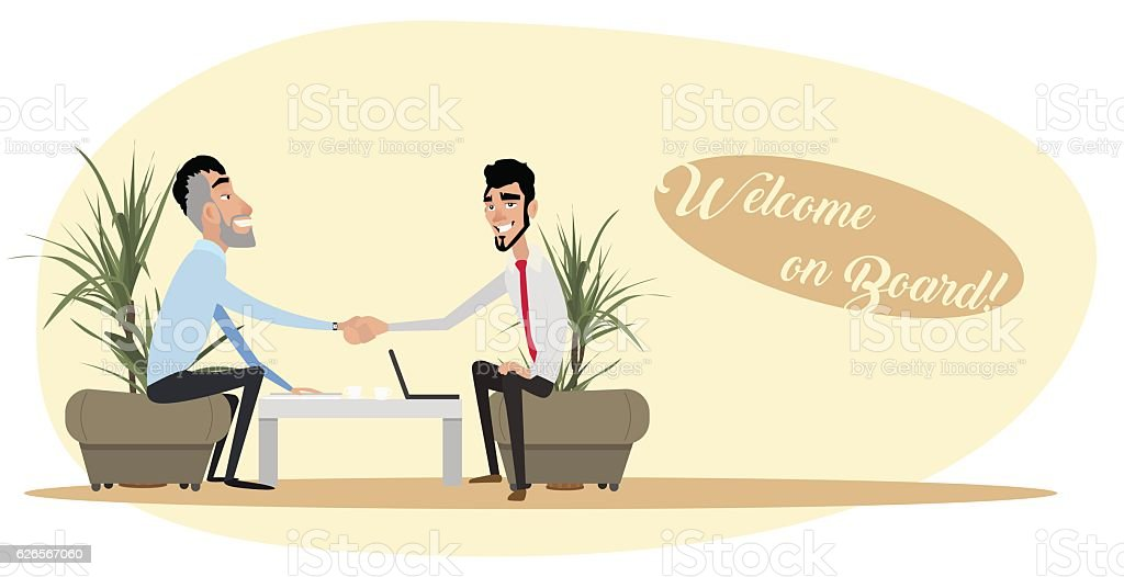 Two men sitting on the couch, have agreed to the vector art illustration