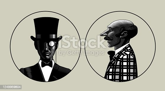 Two portraits of men in retro suit in round frames. Vintage engraving stylized drawing. Vector illustration