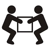 Two men with package, black silhouette, vector icon. Handling heavy loads.