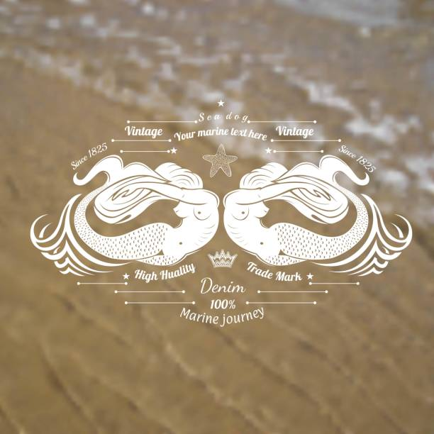 illustrations, cliparts, dessins animés et icônes de deux sirènes sur le rivage de mer avec le fond de flou réaliste de sable et d'onde - tatouages sirènes