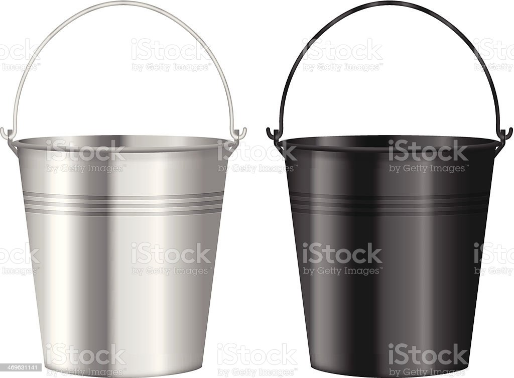 Two metal buckets in silver and black on a white background royalty-free stock vector art