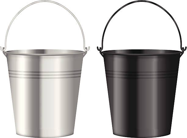 Two metal buckets in silver and black on a white background vector art illustration
