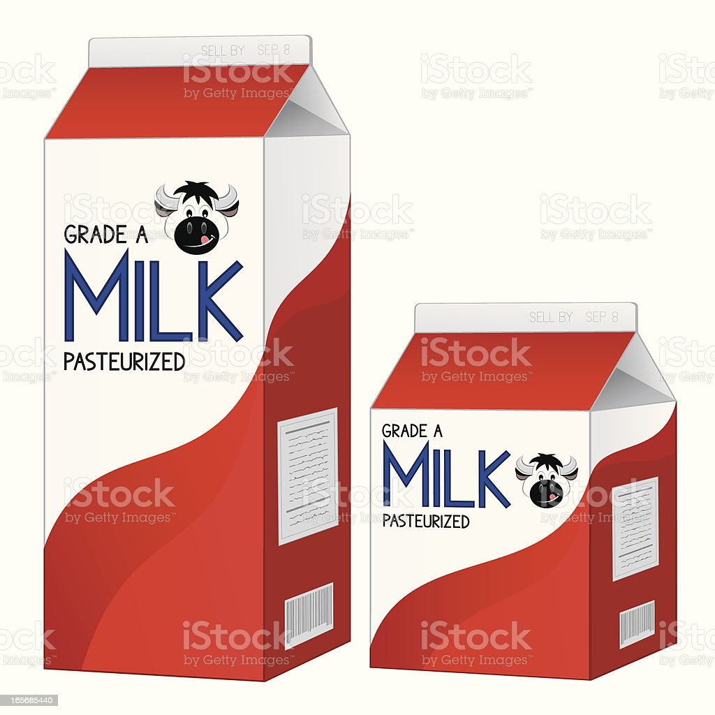 two milk cartons one large and one small stock vector art more rh istockphoto com pictures of milk carton gingerbread houses pictures of chocolate milk cartons