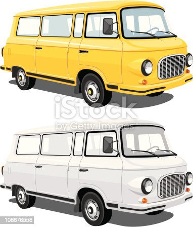 Vector isolated mini bus cargo and passengers eps8/cdr10