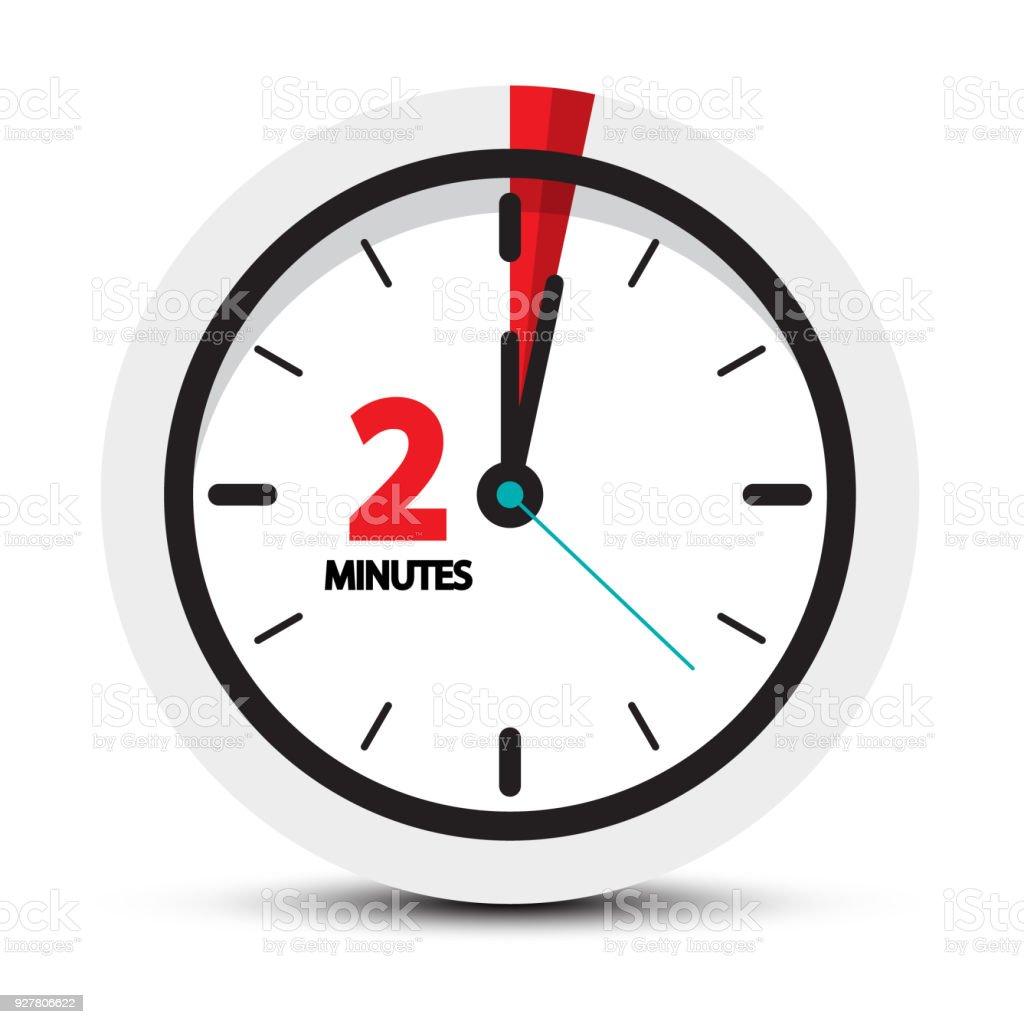 Two Minutes Clock Symbol vector art illustration