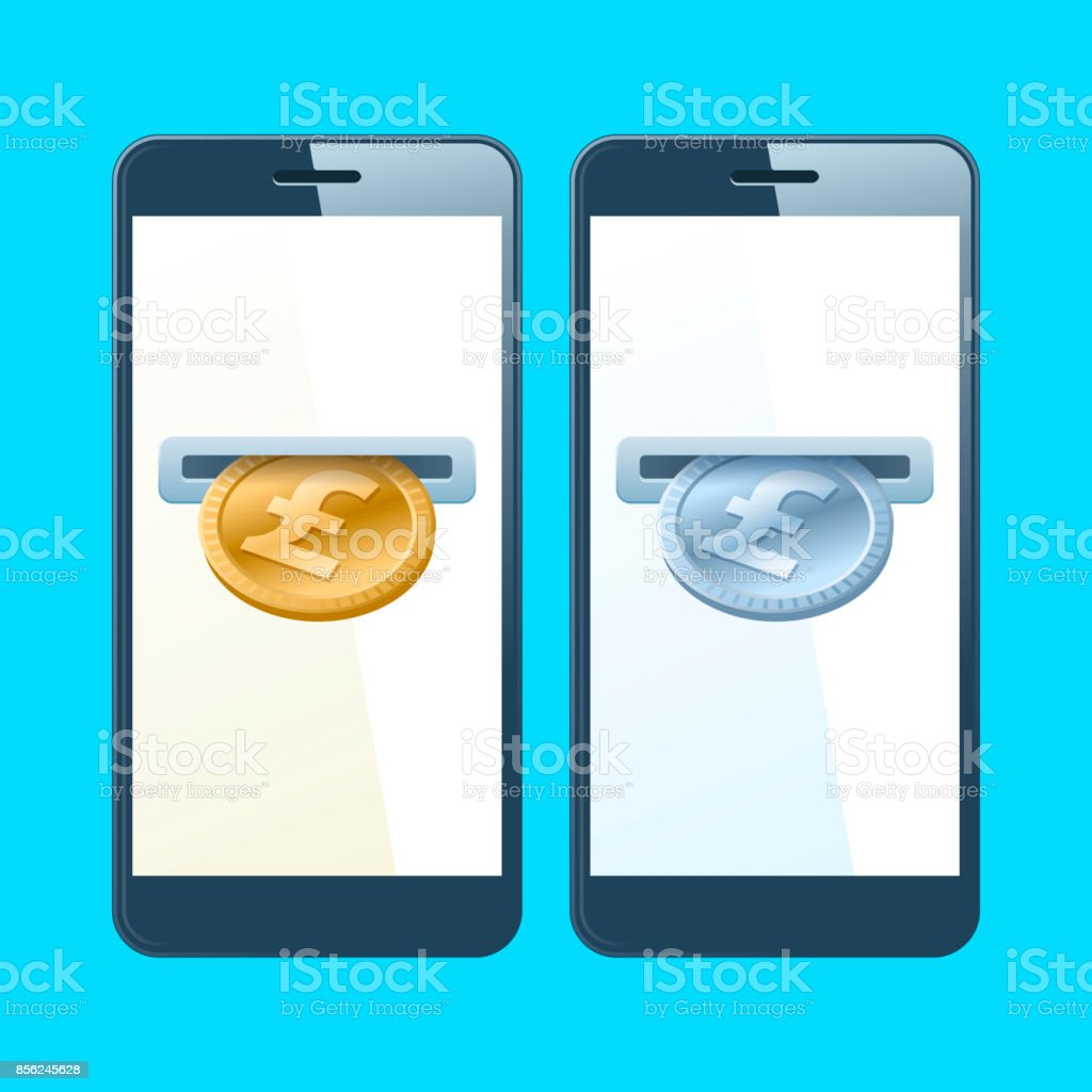 Two mobile phones with coin slotes, gold and silver pounds. vector art illustration