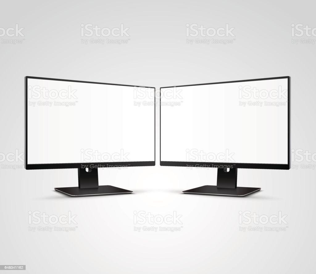 Deux Mockup de moniteurs ordinateur moderne avec écran blanc blanc - Illustration vectorielle