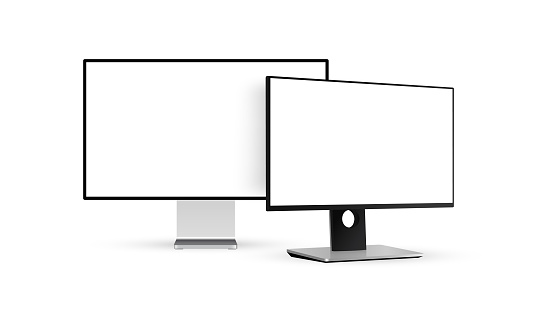 Two modern monitors with blank screens isolated on white background