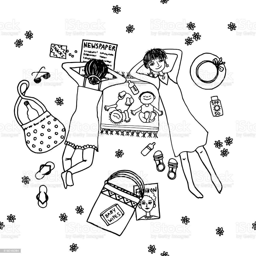 Deux mères située dans le parc avec leurs petits bébés - Illustration vectorielle