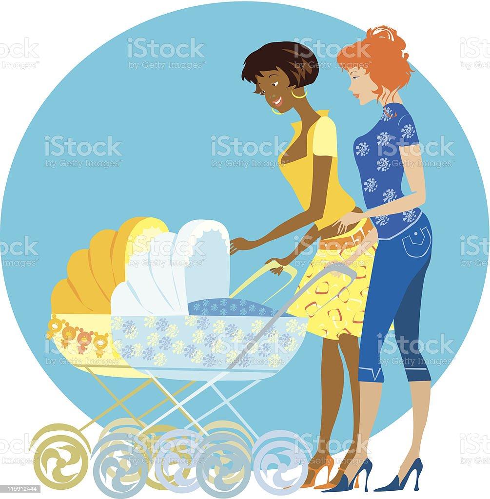Two mothers enjoy newborns vector art illustration
