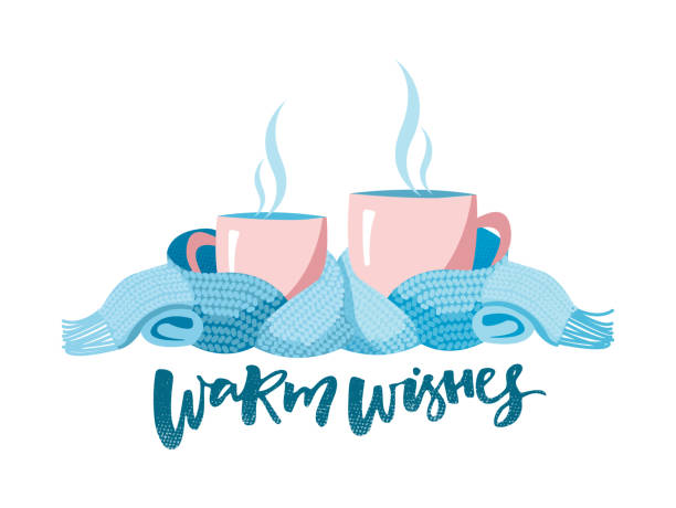 ilustrações de stock, clip art, desenhos animados e ícones de two mugs in scarf. cozy composition of 2 cups with lettering warm wishes. mugs, wrapped in a knitted warm scarf. warming atmosphere for hanging out. flat cartoon style illustration on white background - chá bebida quente