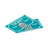 Two museum tickets icon, isometric 3d style
