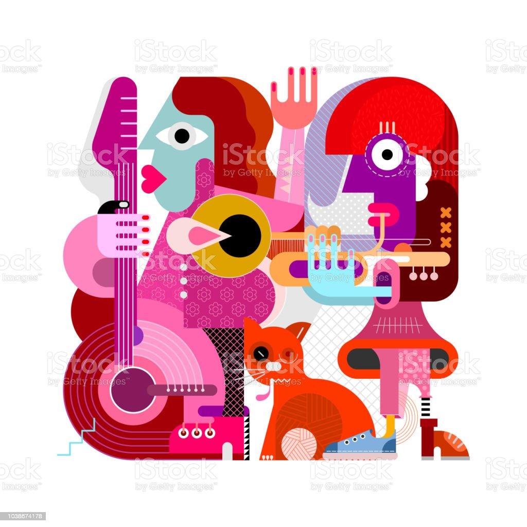 Two Musicians and One Orange Cat vector art illustration