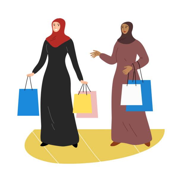 stockillustraties, clipart, cartoons en iconen met twee moslimmeisjes in een traditionele etnische hijab die zich met het winkelen zakken bevindt. de illustratie van de vector in vlakke beeldverhaalstijl. - oost duitsland
