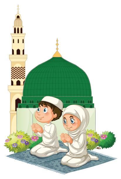 Best Muslim Pray Illustrations, Royalty-Free Vector ...