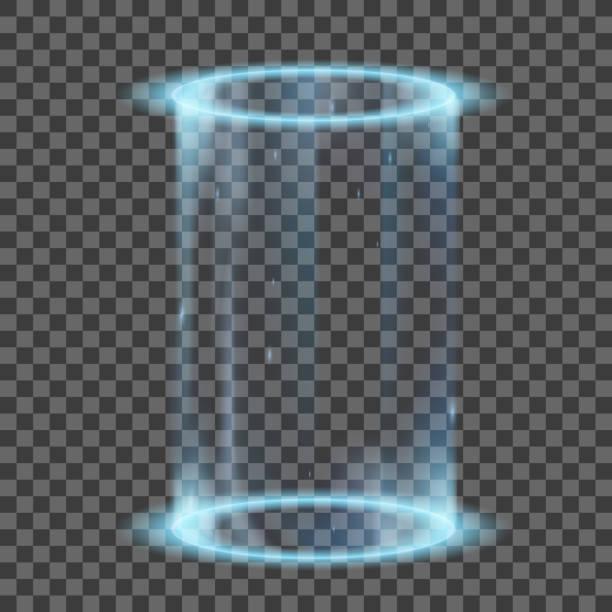 ilustrações de stock, clip art, desenhos animados e ícones de two neon glowing rings. futuristic hologram or portal - hologram