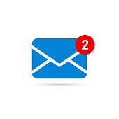 Two new messages icon with notification. Envelope with incoming message. Vector symbol.