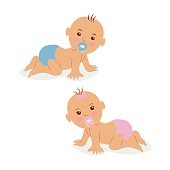 Two newborn babies crawling on all fours in diapers.