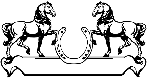 two of horses and horseshoe