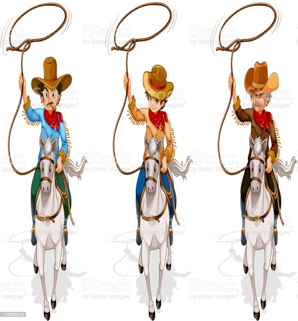 Two old and one young cowboys royalty-free stock vector art
