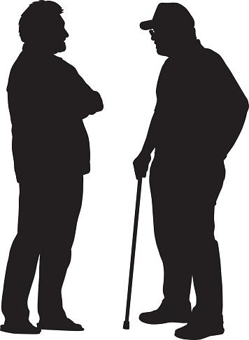 Two Older Men Talking Silhouette