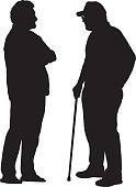 Vector illustration of two older men standing face to face and talking.
