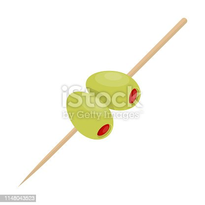 Beautiful vector design illustration of two olive with stick isolated on white background