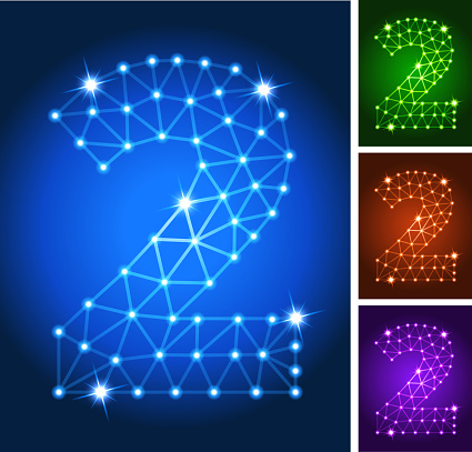 Two on triangular nodes connection structure vector art