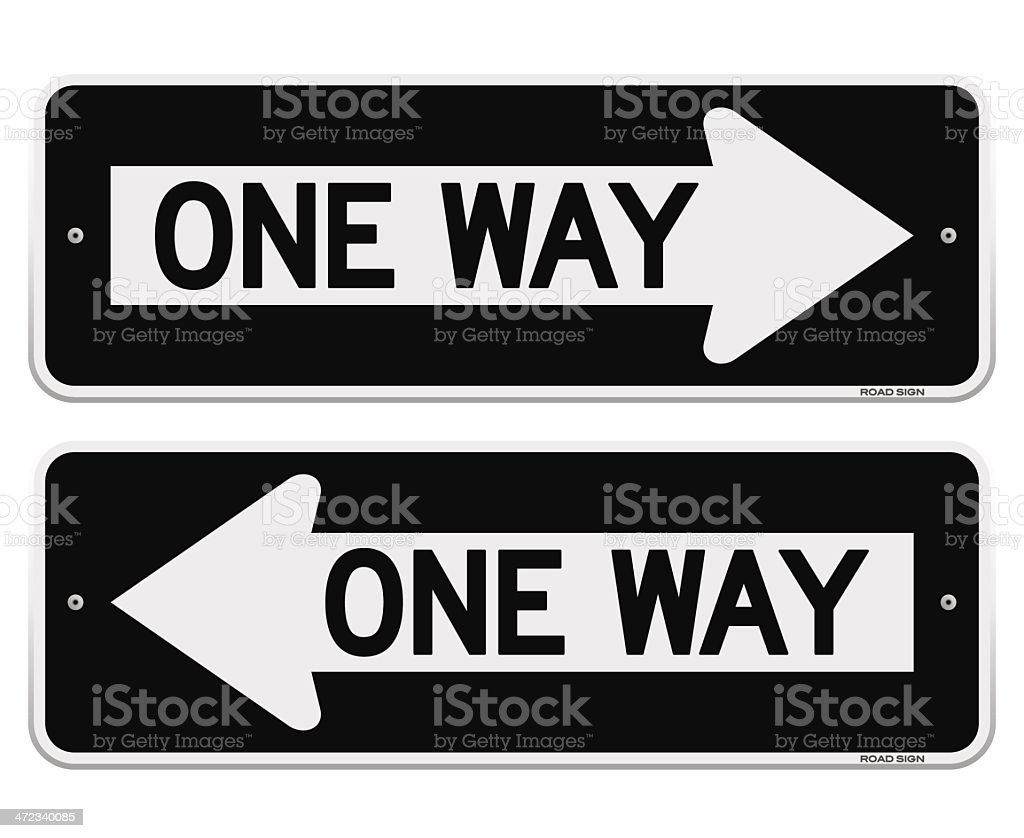 Two one way signs pointing in opposite directions royalty-free stock vector art
